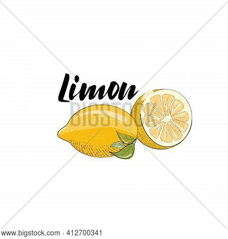 Vector Image Of A Lemon, Half A Lemon And The Title Lemon . Illustration Isolated On A White Backgro
