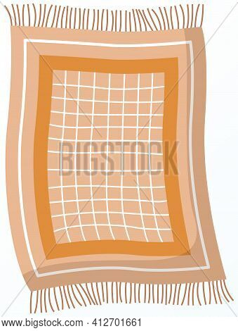 Fringed Kitchen Rug. Mat For Setting Table And Laying Under Hot Dishes. Object For Kitchen Interior