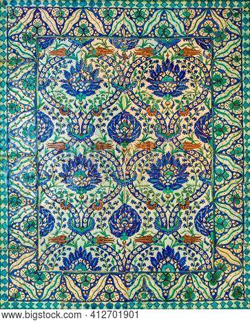 Wall Decorated With Traditional Ottoman Era Style Glazed Ceramic Tiles From Iznik - Turkey - With Fl
