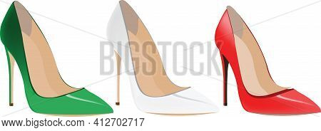 Red White Green Female High-heeled Shoes Red White Green Female High-heeled Shoes