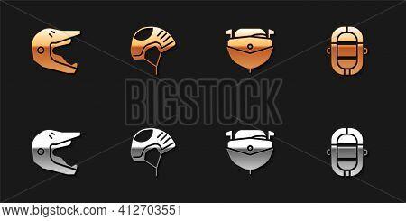 Set Motocross Motorcycle Helmet, Helmet, Speedboat And Rafting Icon. Vector