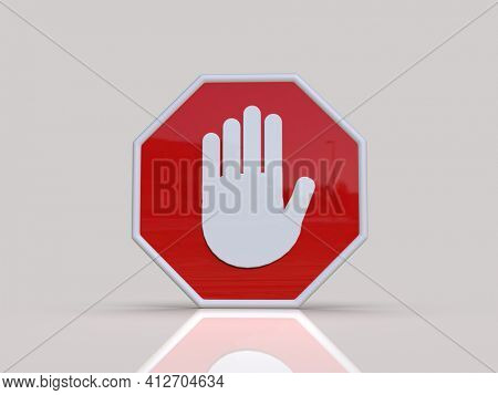 3d render STOP!You are Not Allowed Here,Red Octagonal StopRoadsign with Big Hand Symbolfor Prohibited Activities, Traffic StopBlocking Sign,Prohibition Icon,No Entry Signal, RedWarning