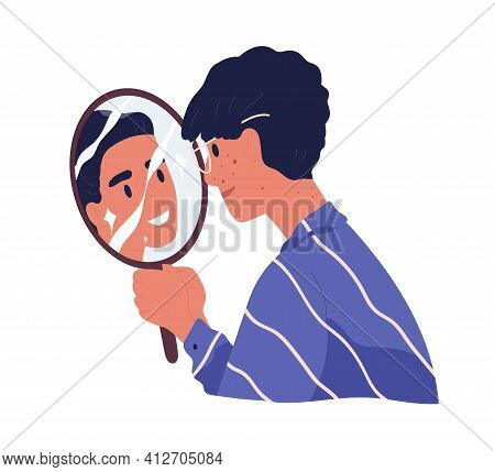 Ugly Man With Acne Looking At Mirror Reflection And Dreaming To Be Beautiful Confident Guy. Concept