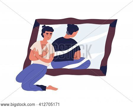 Sad Woman With Anorexia And Distorted Body Perception Looking At Mirror Reflection. Concept Of Psych