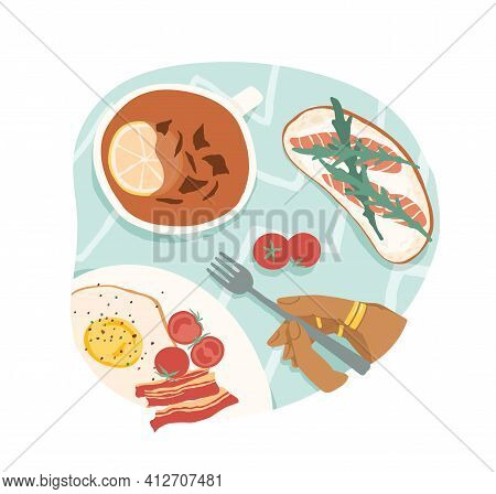 Breakfast Or Brunch With Fried Eggs And Bacon, Cherry Tomatoes, Sandwich With Salmon And Tea With Le