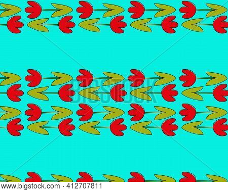 Abstract Seamless Pattern With Stylized Red Tulip. Horizontal Tulip Texture