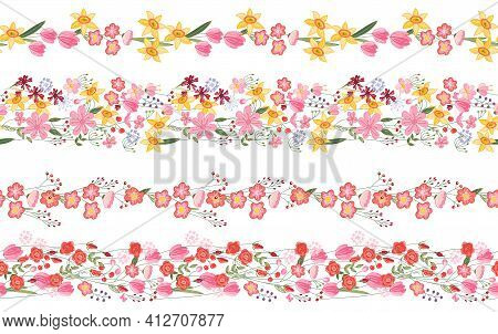Endless Borders With Spring And Summer Flowers. Illustration Can Be Used For Floral And Festive Deco