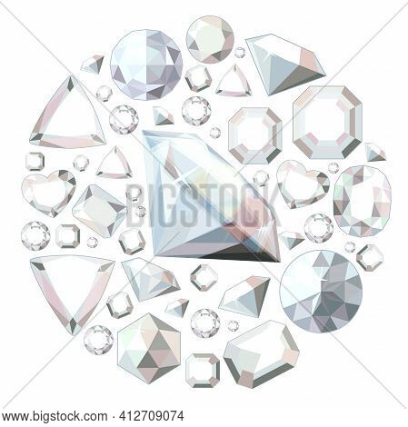 Round Template With Brilliants And Crystals. Circle With Gems And Gold. Stylized Illustration Can Be