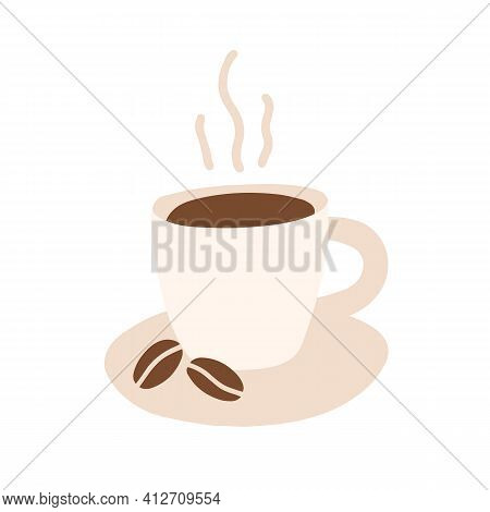 Morning Coffee Cup With Hot Freshly Brewed Espresso Or Americano. Mug Of Aromatic Caffeine Drink Wit
