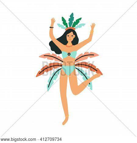 Beautiful Brazilian Dancer Dancing Samba At Rio Carnival. Woman Dressed In Bikini And Feathered Crow