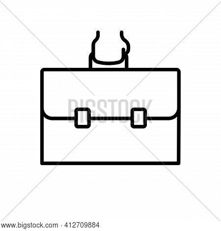Hand With Briefcase Line Icon In Black, Isolated Outline Symbol. Briefcase Illustration. Business Su