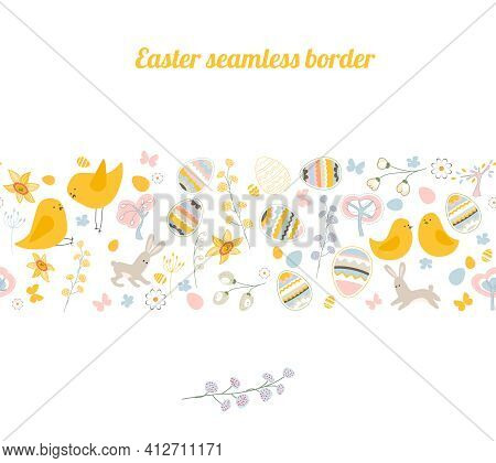 Endless Horizontal Border With Festive Painted Eggs, Stylized Flowers And Pretty Birds. Endless Bord