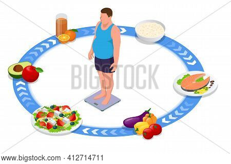 Weight Loss. Isometric Healthy Fitness Food And Diet Planning Concept. Healthy Eating, Personal Diet