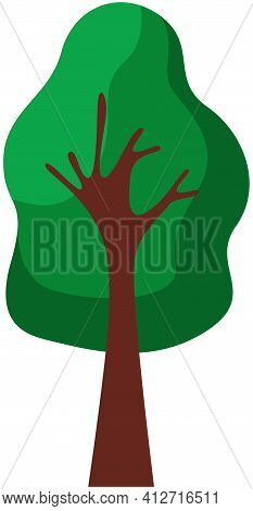 Cartoon Tree With Wooden Trunk And Dense Foliage. Deciduous Plant Isolated On White Background