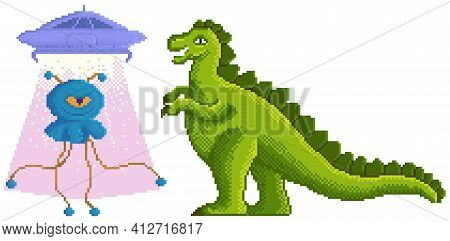 Pixel-game Dinosaur Monster Fighting An Alien Character In Pixel Art Vector Isolated On White