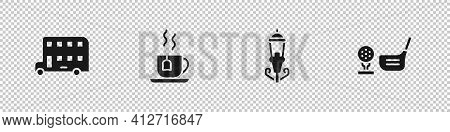 Set Double Decker Bus, Cup Of Tea With Tea Bag, Vintage Street Light And Golf Club Ball On Tee Icon.