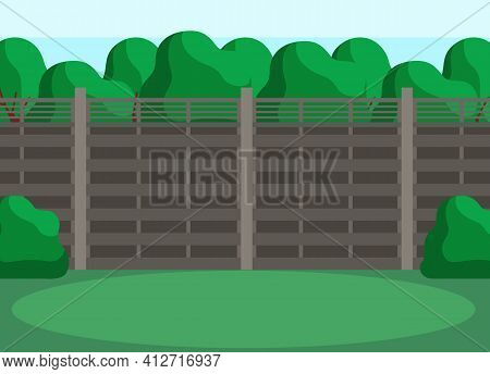 Trees, Grass And Bushes As Elements Of Interior Landscape. Back Yard With Green Lawn Behind Fence