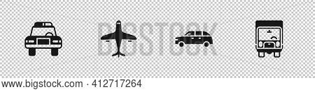 Set Police Car And Flasher, Plane, Hatchback And Delivery Cargo Truck Icon. Vector