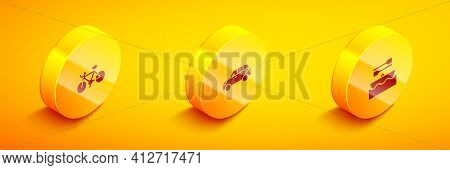 Set Isometric Bicycle, Hatchback Car And Boat With Oars Icon. Vector