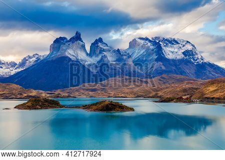 The Torres Del Paine National Park Sunset View. Torres Del Paine Is A National Park Encompassing Mou