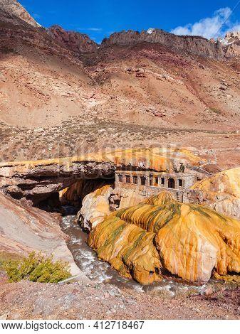 The Incas Bridge Or Puente Del Inca In Argentina. Inca Bridge Is A Natural Arch That Forms A Bridge