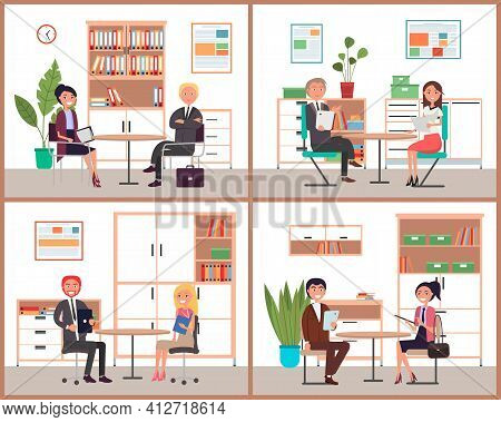 Business Man And Woman Sit At The Table, Work Together, Interviews, Negotiations, Meetig Scenes Set