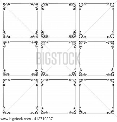 Vector Set Of Square Frames With Floral Ornament. Elegant Vintage Borders With Flourishes, Swirls. D