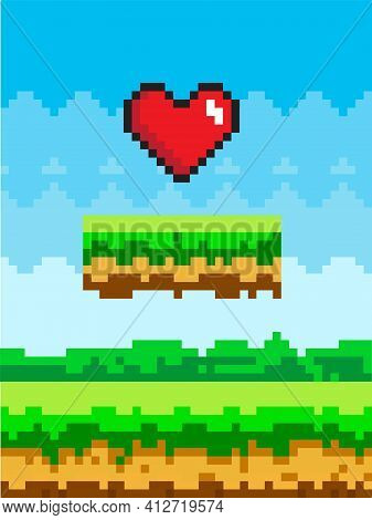 Pixel Art Game Background With Heart In The Sky. Pixel-game Scene With Green Platform Above Ground