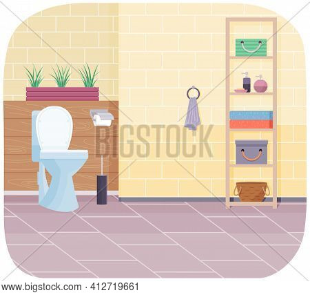 Clean Modern Wc With White Ceramic Toilet Bowl, Paper And Brush. Water Closet With Beige Wall Tiles
