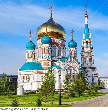 The Dormition Cathedral Or Uspensky Or Uspenskiy Sobor In Omsk Is One Of The Largest Churches In Sib