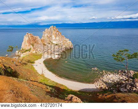 Shamanka Or Shamans Rock On Baikal Lake Near Khuzhir At Olkhon Island In Siberia, Russia. Lake Baika