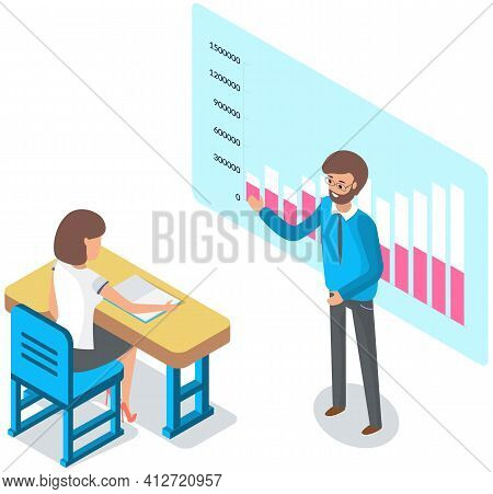 University Lecture With Professor And Girl Student. Man Teacher Is Using Interactive Whiteboard