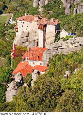 The Monastery Of Rousanou Or St. Barbara Monastery At Meteora. Meteora Is One Of The Largest Built C