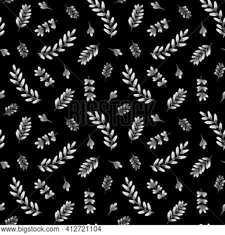 Watercolor Pattern With Monochrome Leaves On A Dark Background. Monochrome Leaves. Autumn Leaves. De