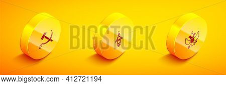 Set Isometric Hammer And Sickle Ussr, Rocket Ship And National Emblem Of Russia Icon. Vector