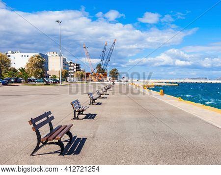 Corinth Seafront In The City Center. Corinth Is A City And Former Municipality In Corinthia In Pelop