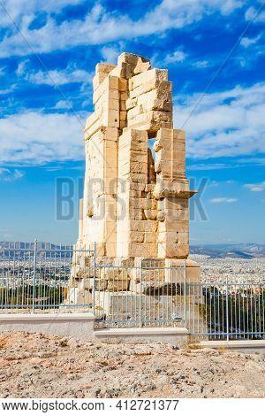 Philopappos Monument Is Ancient Greek Mausoleum And Monument Dedicated To Gaius Julius Antiochus Epi
