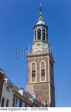 Historic Belfry Clock Tower In Kampen, Netherlands