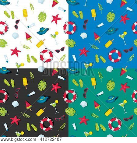 Set Of Patterns Of Summer Elements On Different Background, A Seamless Pattern Of Summer Theme, A Br