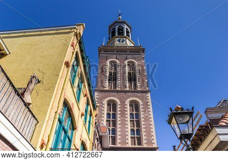 Historic Belfry And Colorful Houses In Kampen, Netherlands