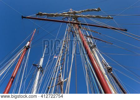 Ropes And Masts Of Tall Ships In Kampen, Netherlands