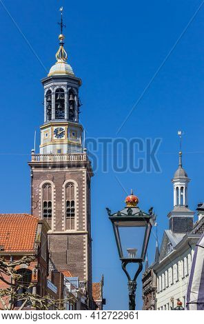 Street Light In Front Of The Belfry Of Kampen, Netherlands