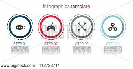 Set Submarine Toy, Gamepad, Arrow With Sucker Tip And Fidget Spinner. Business Infographic Template.