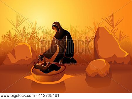 Biblical Illustration Set,  Jochebed Put Moses In The Nile