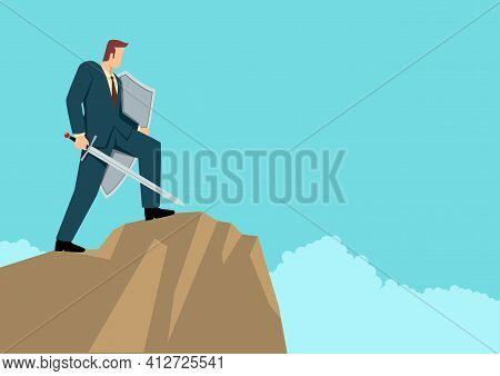 Simple Flat Business Vector Illustration Of An Optimistic Businessman Holding A Sword And Shield Sta