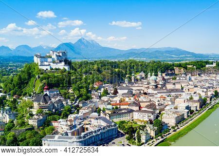Salzburg City Centre And Salzach River Aerial Panoramic View, Austria. Salzburg (literally
