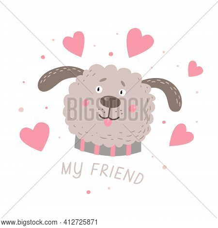 Head Of A Funny Shaggy Dog And Hearts. Cute Cartoon Pet On A White Isolated Background. Vector Illus