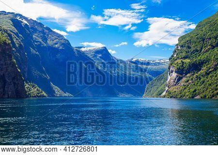 Geirangerfjord Mountain View From Tourist Boat. Geirangerfjord Located Near The Geiranger Village In