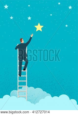 Simple Flat Vector Illustration Of A Businessman Reach Out For The Stars