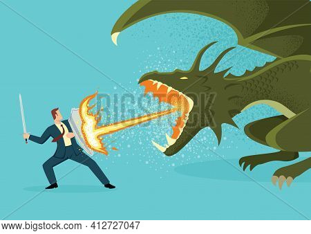 Simple Flat Vector Illustration Of A Businessman Fighting A Dragon. Risk, Courage, Leadership In Bus